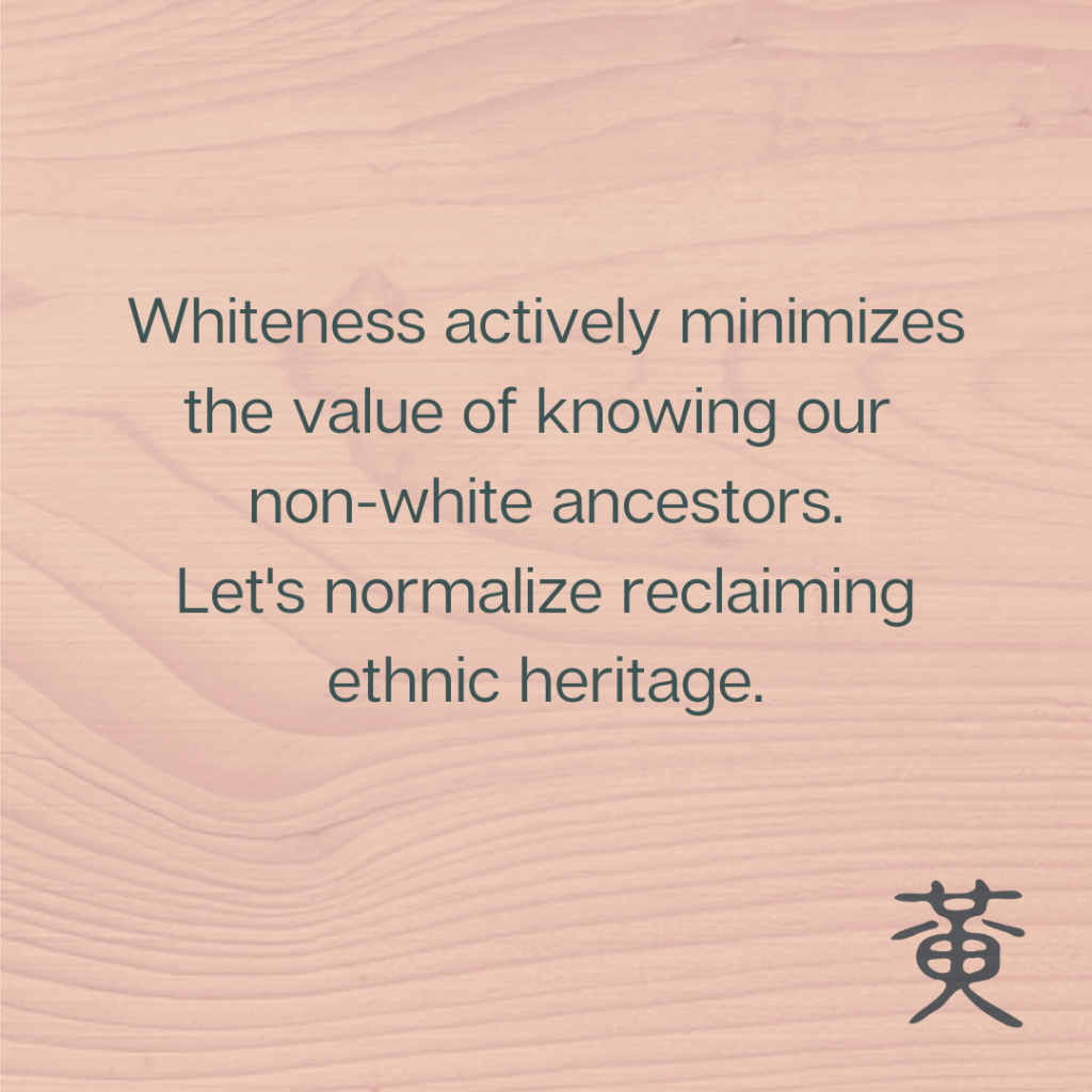Image says: Whiteness actively minimizes the value of knowing our non-white ancestors. Let's normalize reclaiming ethnic heritage.